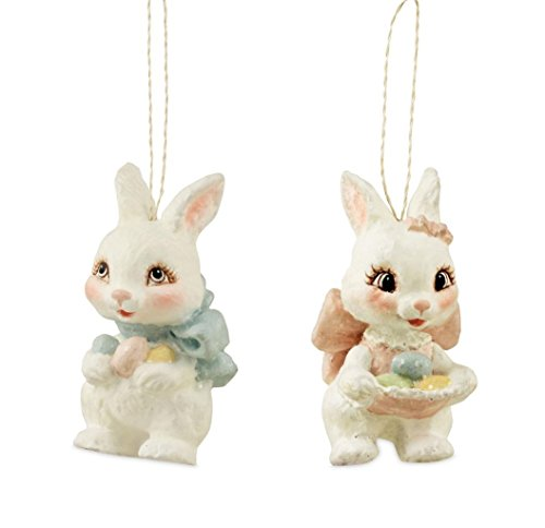 Bethany Lowe Sweet Easter Bunny Ornaments Boy Girl Pastel, Set of 2