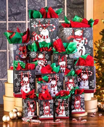 The Lakeside Collection 42-Pc. Chalkboard Snowmen Holiday Bag Sets