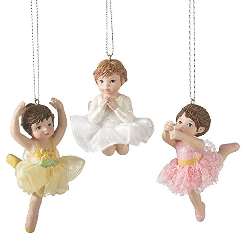 Christmas Holiday Little Girl Ballerina Ornaments – Set of 3, 2″ – 3″
