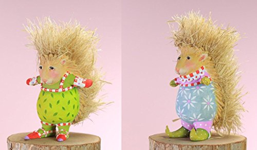 Patience Brewster Woodland Christmas Mini Peety Pansy Porcupine Ornaments 4″