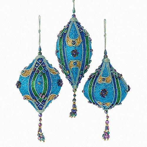 Kurt Adler Teal, Green And Blue Glitter Finials And Drop Ornament Set Of 3