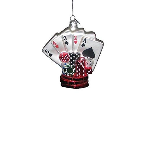 Kurt Adler 3.75-inch Noble Gems Glass Poker Game Ornament