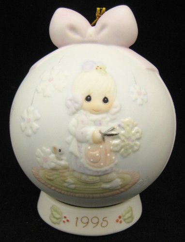 Precious Moments 1995 porcelain ball ornament with stand