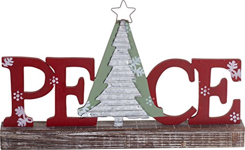 Festive Wood and Metal Holiday Standing Sign Christmas Decoration (Peace)