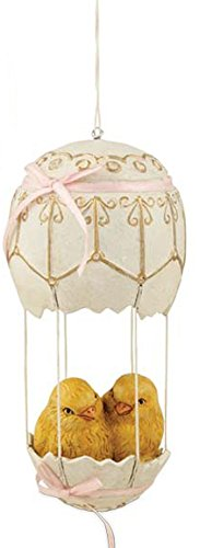 Bethany Lowe Chicks in Hot Air Balloon Hanging Ornament (Pink)