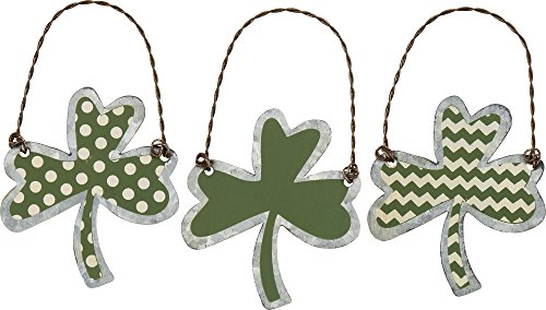 Tin Ornaments – Shamrocks SIZE: 2″ x 2.25″ Set of 3