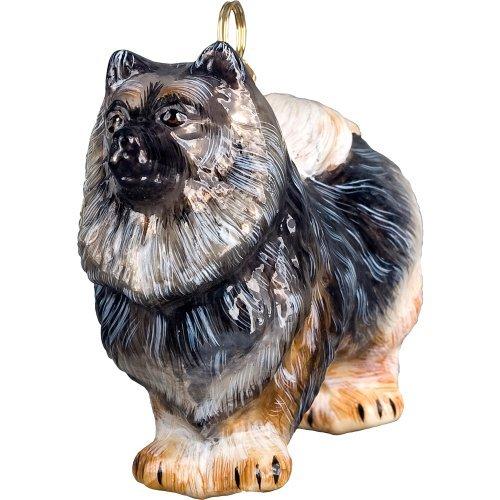Keeshond Standing Dog Blown Glass Polish Christmas Ornament Decoration