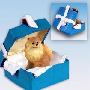 Conversation Concepts Pomeranian Red Gift Box Blue Ornament