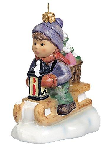 M.I. Hummel Ride Into Christmas Boy Sledding Polish Glass Christmas Ornament