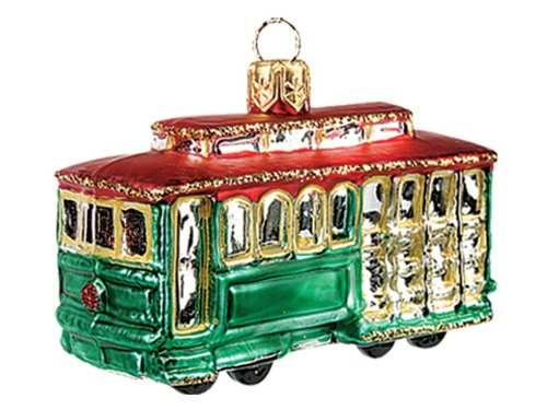 San Francisco Cable Car Polish Glass Mini Christmas Ornament Decoration