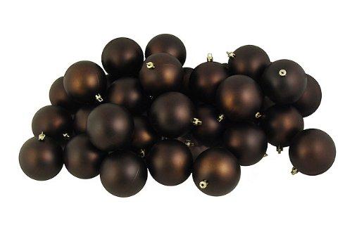 Vickerman 32 Count Matte Chocolate Brown Shatterproof Christmas Ball Ornaments, 3.25″