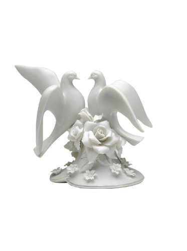 5 Inch Two White Dove and Rose Flower Themed Cake Topper Decoration
