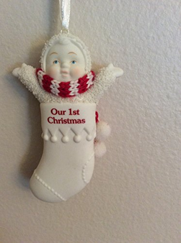 Snowbabies Personalized Christmas Stocking Ornament – Our 1st Christmas – 3.25″