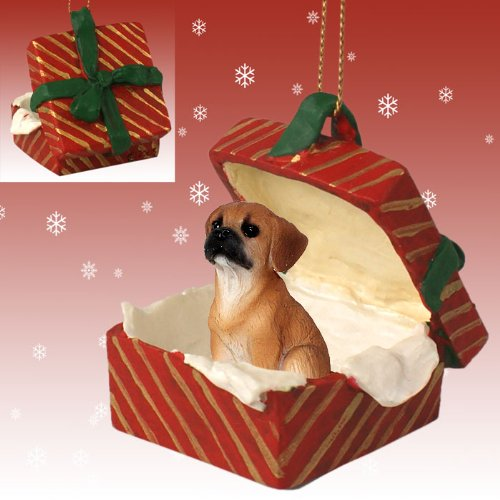 Conversation Concepts Puggle Gift Box Red Ornament