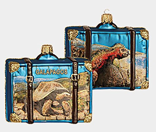 Galapagos Island Travel Suitcase Polish Glass Christmas Tree Ornament Decoration