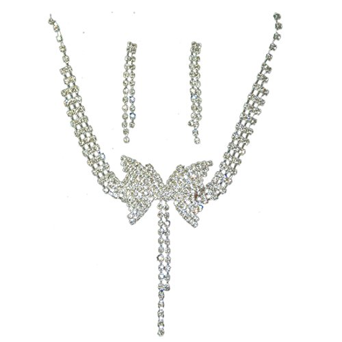 Crystal Necklace Earrings Set Charm Tassel Butterfly Shape Wedding Jewelry Set Women Bride Party