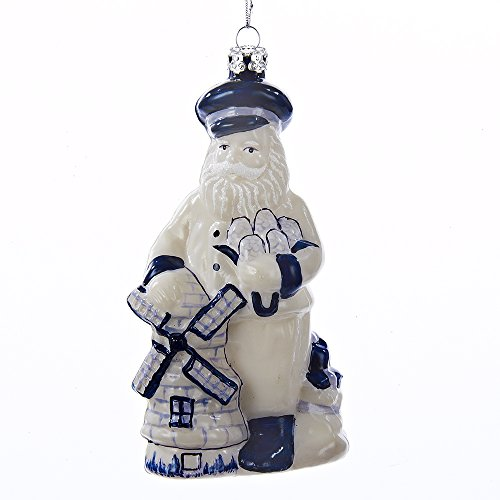 Kurt Adler 5-inch Noble Gems Delft Blue Windmill Santa Ornament