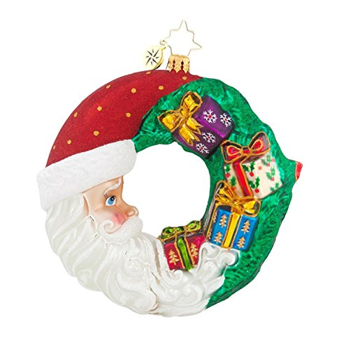 Christopher Radko Glass Crescent Christmas Presents Santa Wreath Ornament #1017880