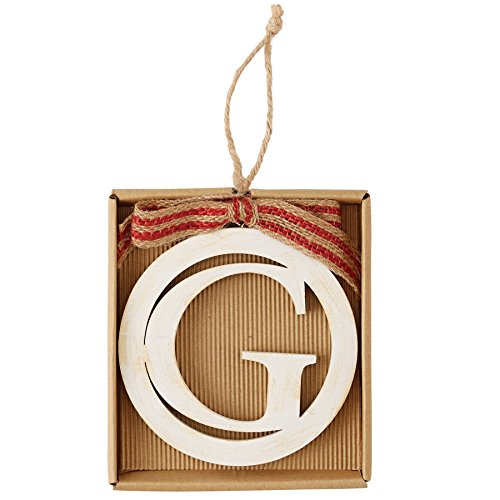 Mud Pie Die Cut Wood Initial Ornament (Letter G)