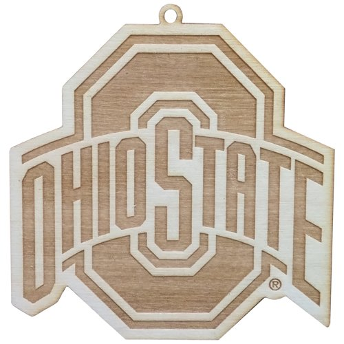 NCAA Ohio State Buckeyes Athletic Logo Wood Ornament, 4″ x 4″,Brown