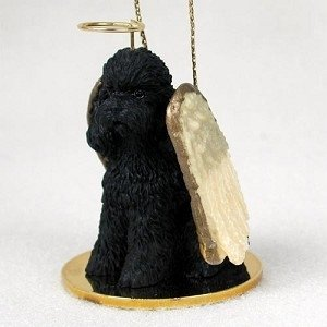 Sport Cut Black Poodle Angel Ornament