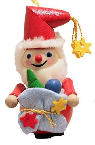 Steinbach Old Santa Claus with Sack of Presents German Wooden Christmas Ornament