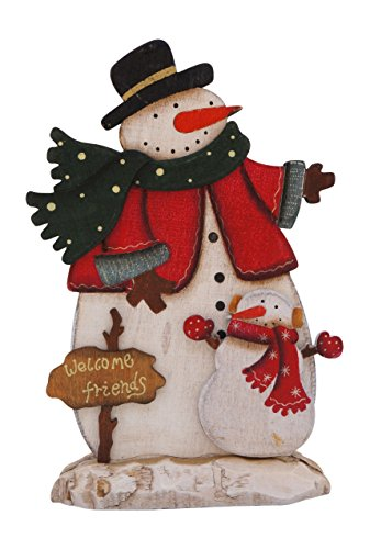 Joyful Holiday Snowman Wooden Tabletop Standing Signs (Black Hat)