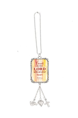 Ganz 4″ Inspirational Car Charm/Ornament with Dog Tag Hanger (Trust in the Lord)