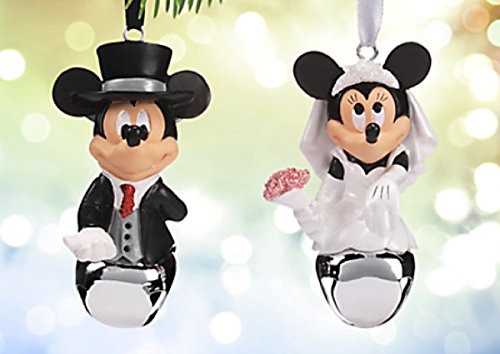 Disney Parks Mickey Minnie Mouse Bride Groom Wedding Bell Ornament Set of 2 NEW