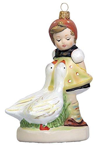 M.I. Hummel Goose Girl Little Bavarian Girl Polish Glass Christmas Tree Ornament