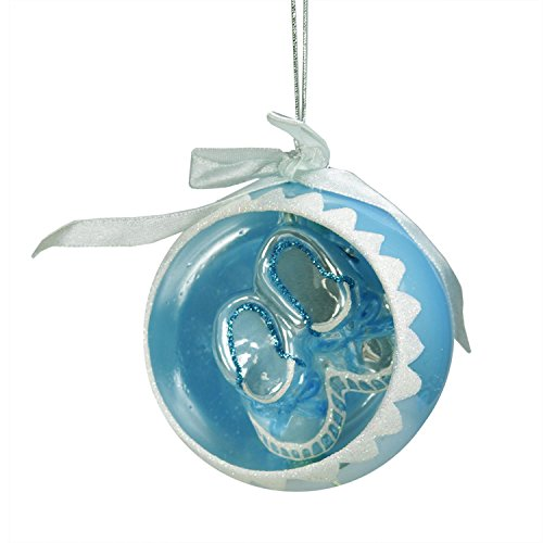 3.5″ Noble Gems Blue Baby Boys 1st Christmas Glass Ball Ornament with Booties