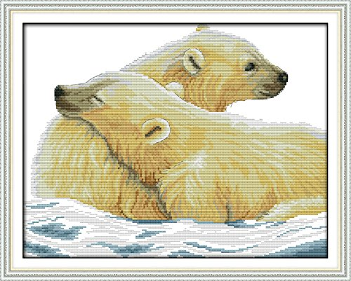 Good Value Cross Stitch Kits Beginners Kids Advanced – Polar Bear And His Cub 11 CT 21″X17″, DIY Handmade Needlework Set Cross-Stitching Accurate Stamped Patterns Embroidery Home Decoration