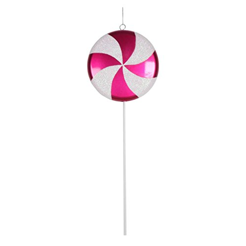 Vickerman Plastic Candy Lollipop with Iridescent Glitter, 17″, Cerise and White