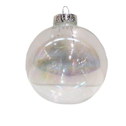 Kurt Adler Clear Iridescent Glass Ball Ornament, 65mm, Set of 6