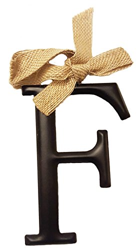 "Mud Pie Black Tin Initial Monogram Ornament With Burlap Bow – Letter ""K"""