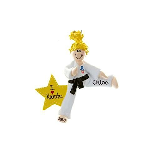 Karate Girl Blonde Personalized Ornament