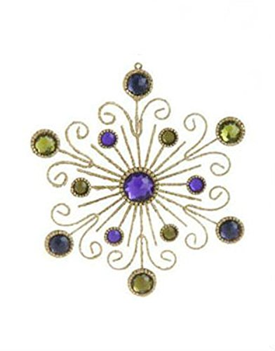 6″ Victorian Inspired Gold Swirl and Purple Gem Snowflake Christmas Ornament