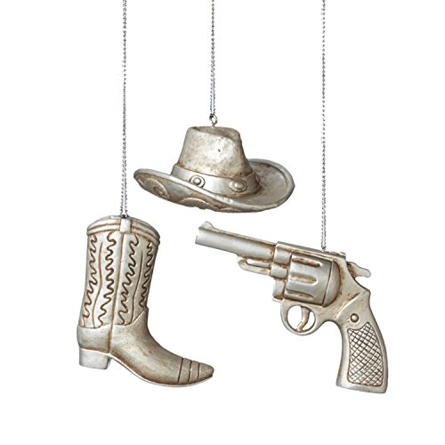3″ Wild West Country Western Silver Cowboy Hat Christmas Ornament