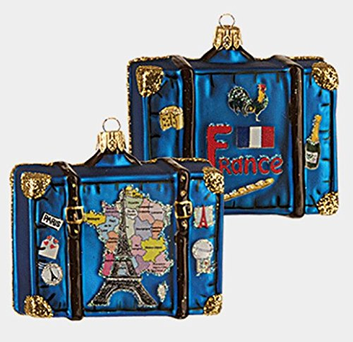 Map of France Travel Suitcase Polish Glass Christmas Ornament French Decoration