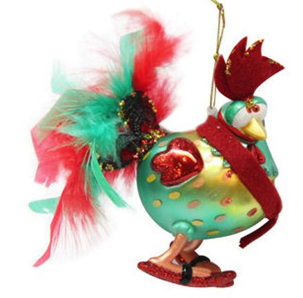 December Diamonds Blown Glass Ornament – Green & Red Rooster with Feather Tail