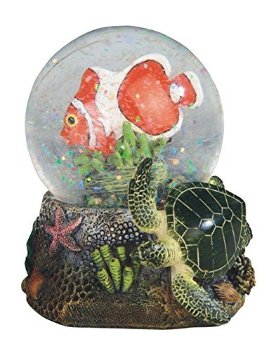 StealStreet Clownfish with Green Turtle Marine Life Snow Globe, 3.75″
