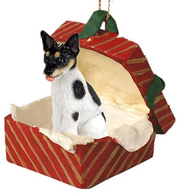 Rat Terrier Dogs Red Gift Box Christmas ORNAMENT by Conversation Concepts