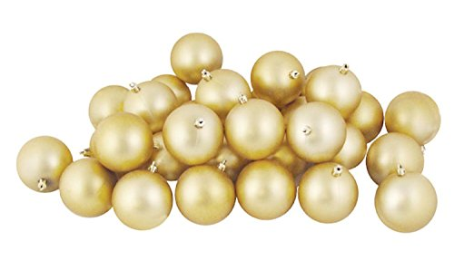 32ct Matte Champagne Shaterproof Christmas Ball Ornaments 3.25″ (80mm)