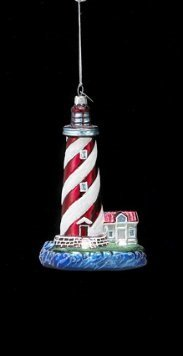 Kurt Adler Noble Gems Glass Lighthouse Ornament #NB0760