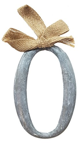 """Mud Pie Tin Slate Color Initial Monogram Ornament With Burlap Bow – Letter """"O"""""""