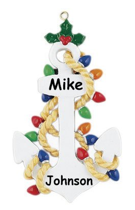 Personalized Anchors Away Christmas Ornament with Name – 4 Inches