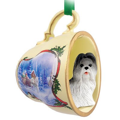 Conversation Concepts Shih Tzu Gray Tea Cup Sleigh Ride Holiday Ornament