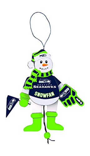 NFL Seattle Seahawks Wooden Cheering Snowman Ornament