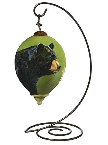 "Ne'Qwa Petite Princess-Shaped Glass Ornament With Classic Hanging Stand, ""Black Bear"" Artist Rebecca Latham, #7161132"
