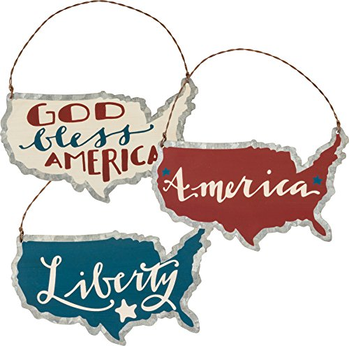 PBK Patriotic Decor – God Bless America Liberty Tin Ornaments 3pc. Set